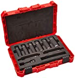 "Milwaukee 49-66-4484 Shockwave 1/2"" Dr Thin Wall Deep Impact Socket Set (9-Piece)"