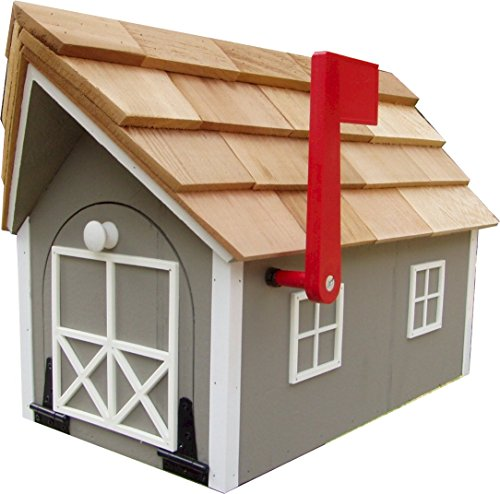 Mailbox Wooden Dutch Barn Style Clay with White Trim Amish Made in USA
