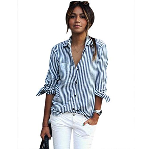 Mr.Macy Women Striped Long Sleeve Loose Blouse Casual T Shirt Tops (M, - Macy's Points