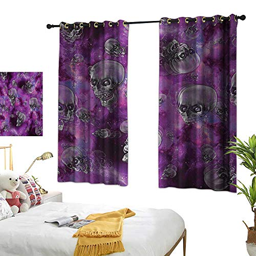 Skull Thermal Insulating Blackout Curtain Horror Movie Thirller Themed Flying Skull Heads Halloween in Outer Space Image W55 x L63,Suitable for Bedroom Living Room Study, -