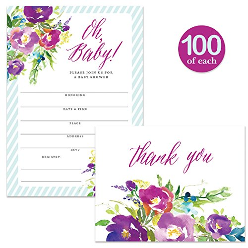 Baby Shower Invitations ( 100 ) & Matched Thank You Cards ( 100 ) Set with Envelopes, Large Celebration Mom-to-be Boy Child Blue 5 x 7'' Fill-in Invites & Folded Blank Thank You Notes Best Value Pair by Digibuddha
