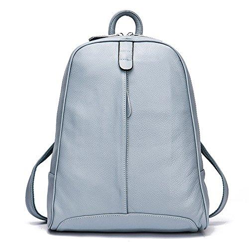 DHL Delivery Fashion Genuine Leather Backpack Women Laptop Casual Knapsack Travel Girls Ligh Blue