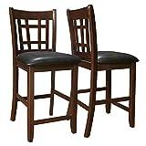 Monarch Specialties Leather-Look 2-Piece Pub Chair, 41-Inch, Cappuccino/Black