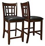 "Coaster Leather-Look 2-Piece Pub Chair, 24"" height, Cappuccino/Black"