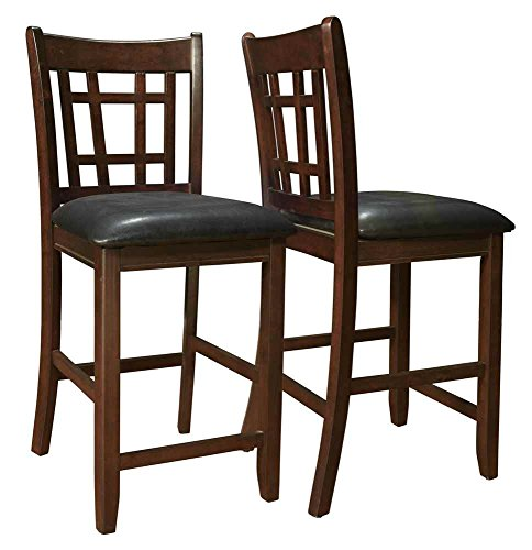 Coaster Leather Like 2-Piece Pub Chair 24 Inch Height Espresso/Black