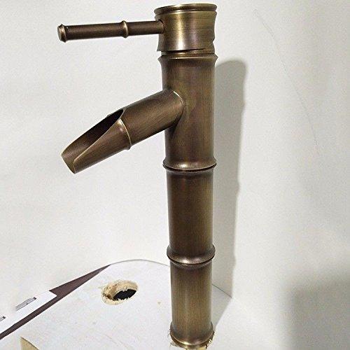 Good quality Antiquitäten Becken Spül Mischer Tap Waschbecken Wasserhahn antike Kupfer Bambus Bad einzigen LocHöheiß und kalt Ventil