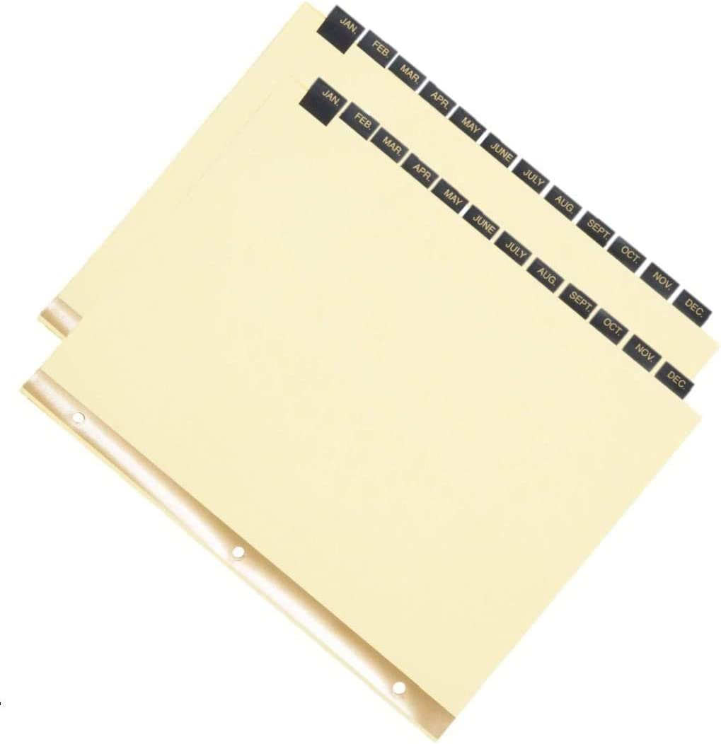 1InTheOffice 12-Tab Preprinted Month Tab Dividers, Leather-Look - 2 Pack
