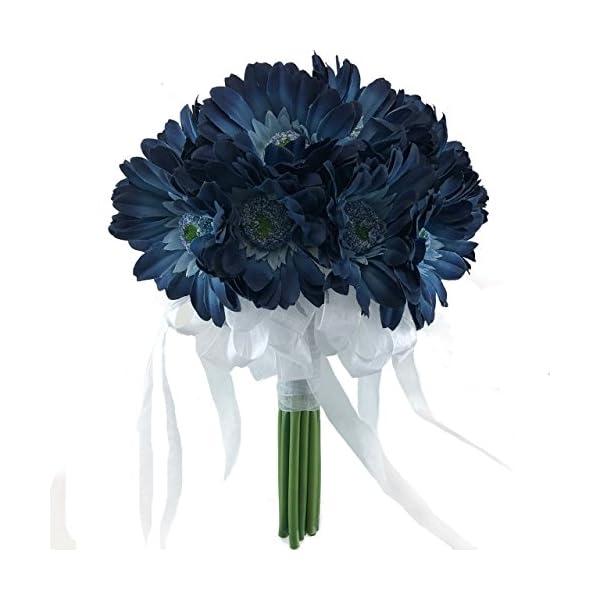 TheBridesBouquet.com Blue Daisy Wedding Bouquet – Silk Bridal Flowers- (18 stem)