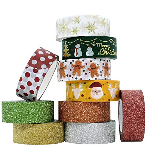 Washi Tape Christmas Glitter Gold Silver, Coloured Tape, Decorative Colourful Tape, Set of 10, Scrapbooking Supplies Scrapbook Tape Accessories Stickers
