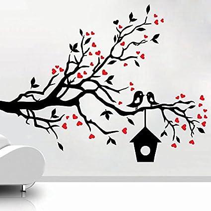 Buy decor kafe home decor loving sparrows with a bird house wall decor kafe home decor loving sparrows with a bird house wall sticker wall sticker for altavistaventures Images