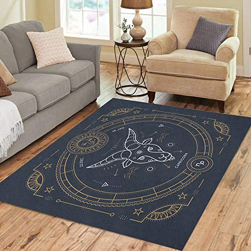 Semtomn Area Rug 5' X 7' Vintage Thin Line Capricorn Zodiac Sign Label Retro Astrological Home Decor Collection Floor Rugs Carpet for Living Room Bedroom Dining Room