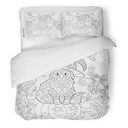 Tarolo Bedding Duvet Cover Set Coloring Page of Cat in Hat Sitting on Halloween Pumpkin Flying Bats Spider Lantern Candle Freehand Sketch 3 Piece Twin 68
