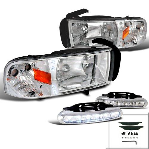 Dodge Ram 1500/2500/3500 Crystal Chrome Headlights+LED Bumper DRL Fog (01 Dodge Ram Crystal)