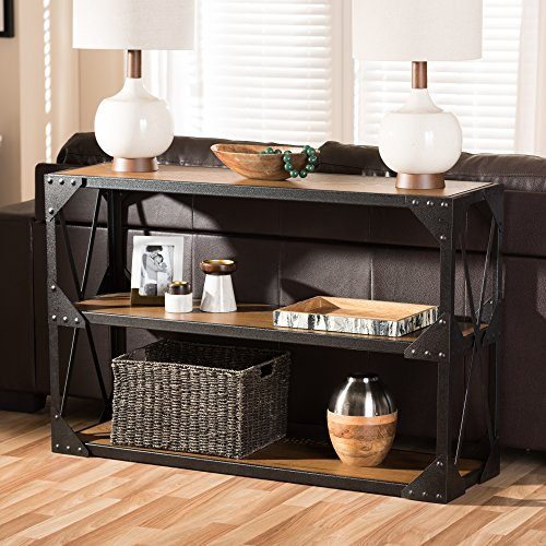 - Baxton Studio Hudson Rustic Industrial Style Antique Black Textured Finished Metal Distressed Wood Occasional Console Table