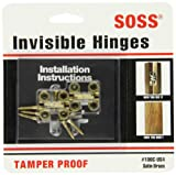 SOSS Mortise Mount Invisible Hinges with 4 Holes, Zinc, Satin Brass Finish, 1'' Leaf Height, 3/8'' Leaf Width, 15/32'' Leaf Thickness, #5 x 3/4'' Screw Size (10 Pairs)