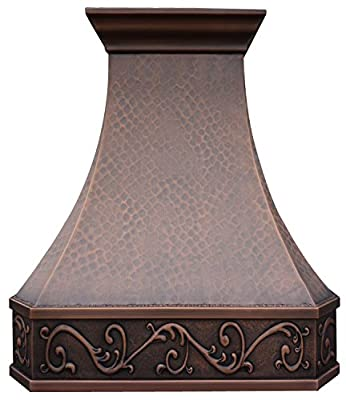 Copper Best H3 362142L Copper Range Hood Wall Mount with Inserts, 36 inches, Handcrafted with Elegent Design