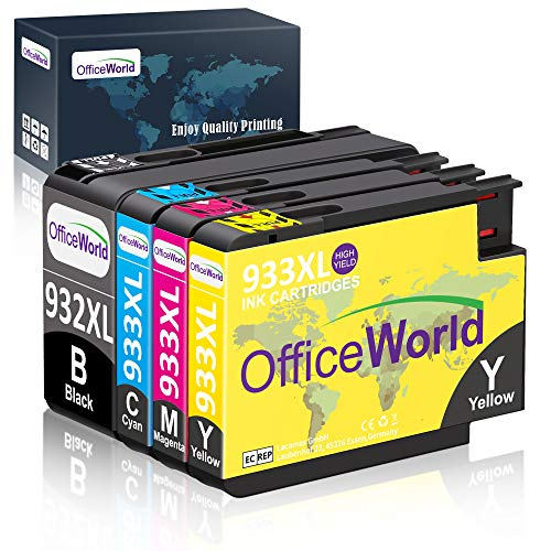 OfficeWorld 932XL 933XL Compatible Ink Cartridge Replacement for HP 932 933 High Yeild Ink Cartridges (Black, Magenta, Yellow, Cyan, 4 Packs), Work with HP Officejet 6700 6600 7740 6100 7610 -