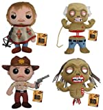 "FUNKO: The Walking Dead 7"" Plushies Set of 4 Rick Grimes, Daryl Dixon, Bicycle Girl & Well Zombies"