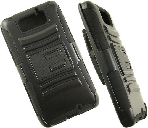 Aimo Wireless Armor Case with Belt Clip and Stand for Motorola DROID MAXX XT1080M - Retail Packaging - Black