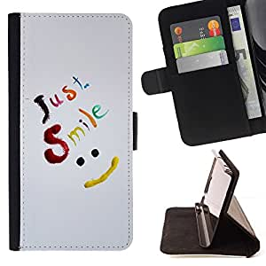 BETTY - FOR Samsung Galaxy S4 IV I9500 - Just Smile Be Happy - Style PU Leather Case Wallet Flip Stand Flap Closure Cover