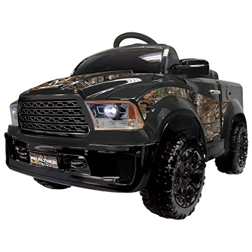 Realtree 12V Battery Powered Truck Ride-on with Working Headlights, Music, Horn Sounds and USB, Aux and SD Connection, Comes with Bluetooth Remote Control Access for Adults