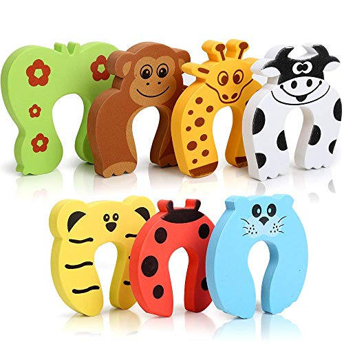 Finger Pinch Guard, TLWDZ 7 Pcs Cartoon Animal Door Stopper Soft Foam Cushion Finger Protector Baby Safety, Prevent Finger Pinch Injuries, Slamming Door, and Child or Pet from Getting Locked in Room