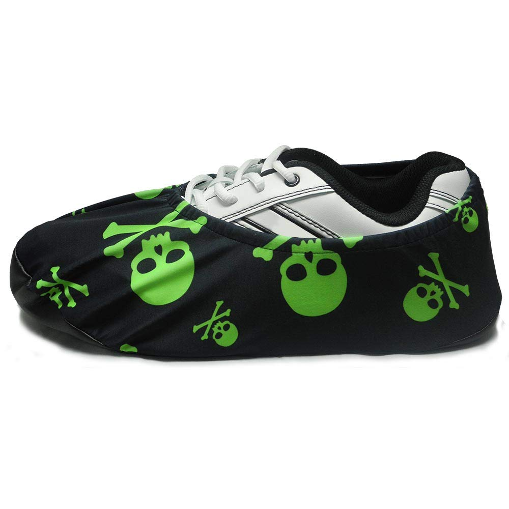 bowlingball.com Premium Bowling Shoe Protector Covers (X-Large: Fits Mens Size 10-15, Lime Green Skulls) by BOWLINGBALL