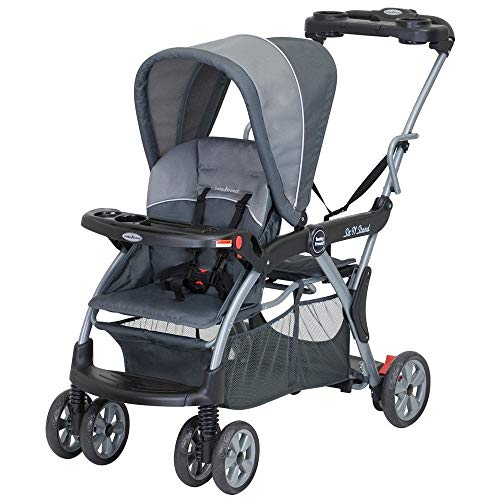 Sit N Stand Deluxe Tandem Stroller Rockridge Black Aluminum Includes Front Tray