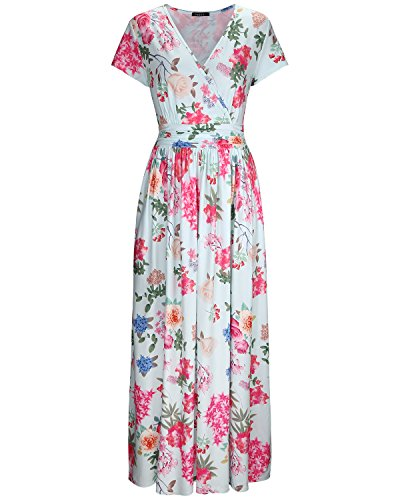 OUGES Women's V-Neck Pattern Pocket Maxi Long Dress(Floral-5,XL)