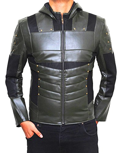 Superhero Costume Jackets Collection - Premium Quality - For Cosplay and Halloween Parties (2XL, Green - Arrow Jacket)