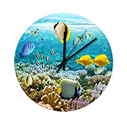 Peceeta Blue Ocean Sea Fish 12 Inches Round Wooden Black Wall Clock Universal Colorful Indoor Decorative White 12x12 inch