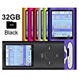 G.G.Martinsen Black Versatile MP3/MP4 Player with a 32GB Micro SD card, Support Photo Viewer, Radio and Voice Recorder, Mini USB Port 1.8 LCD, Digital MP3 Player, MP4 Player, Video/Media/Music Player