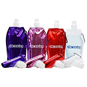 Collapsible Reusable Water Bottle with Carabiner Clip by Activiva - Light Weight Leak Proof Foldable Drinking Water Bottle - Non-Toxic BPA Free - 16.9 oz - Broad 4 Pc Pack (Purple, Pink, Red, Clear)