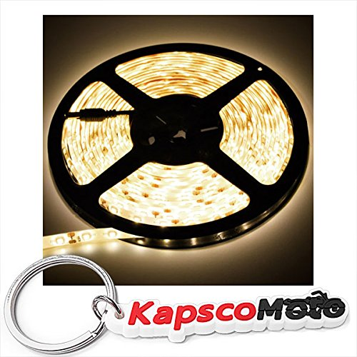 Biltek 6' Feet Warm White 114 LEDs Light SMD3528 On/Off Switch Control Kit 110V Plug - LED Strip Lighting Reading Night Lamp Bulb Waterproof 3528 SMD Flexible DIY 110V-220V + KapscoMoto Keychain - Chain Counter Control