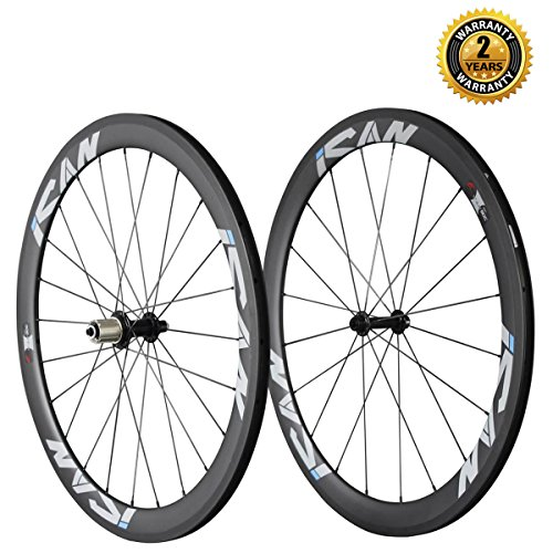 Carbon Fiber Rims (ICAN 50mm 700C Clincher Rim Carbon Wheelset for Road Bike Shimano 10/11 Speeds Cassette 20/24)
