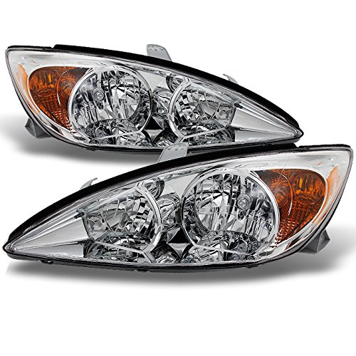 Toyota Camry Right Headlight - For Toyota Camry LE SE XLE Chrome Clear Headlights Front Lamps Replacement Left + Right Pair set