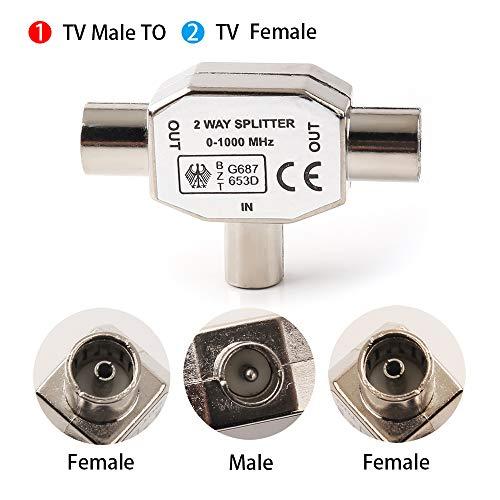 NANYI Macho a acoplador coaxial aéreo de dos mujeres TV, conector tipo T / F zócalo a RF Adaptador aéreo coaxial niquelado: Amazon.es: Electrónica