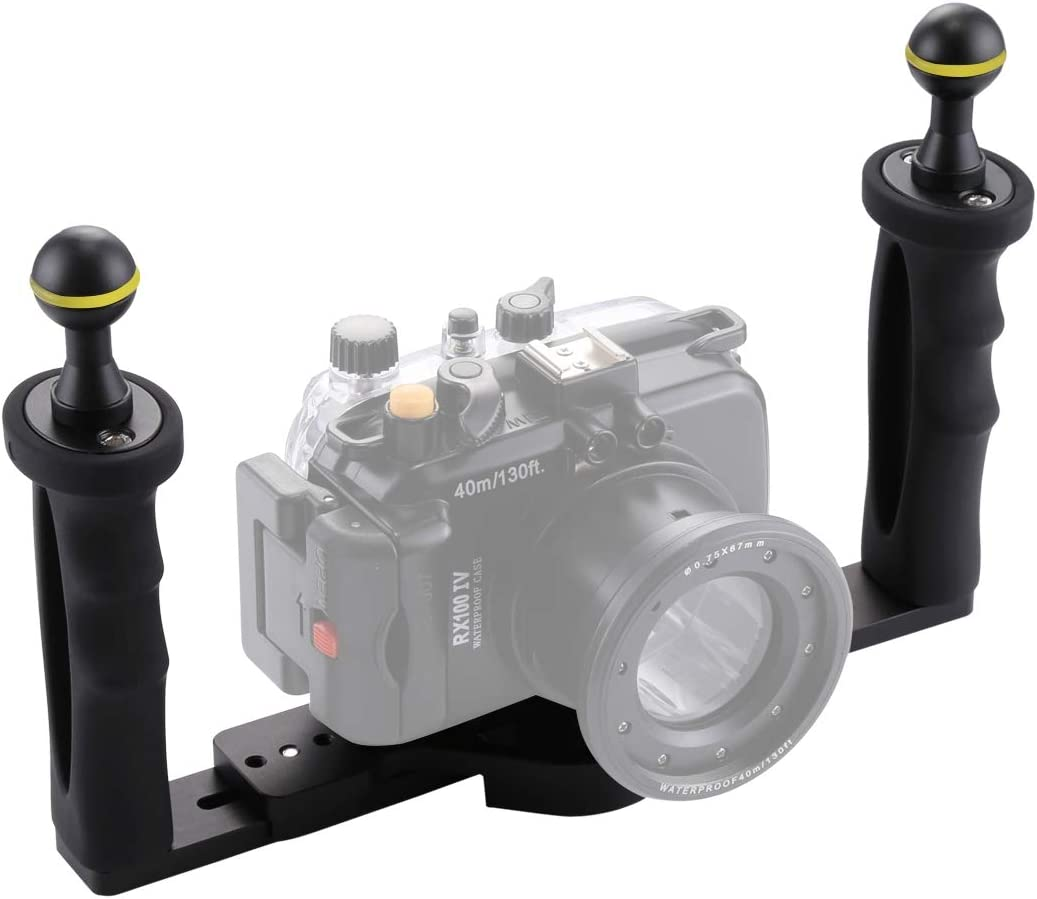 CAOMING Dual Handle Aluminium Tray Stabilizer for Underwater Camera Housings Durable