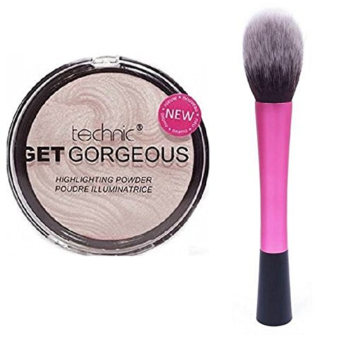 Technic Get Gorgeous Highlighting Powder 12g + LyDia® Red Hot Pink Fluffy Flawless Face Makeup Brush LyDia Beauty