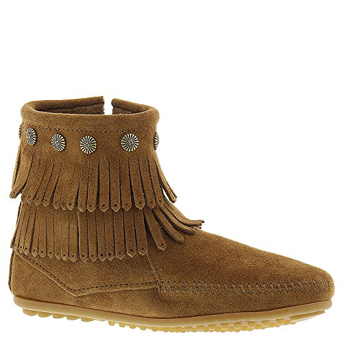 Minnetonka Women's Double Fringe Side Zip Boot Dusty Brown Suede 11 M US