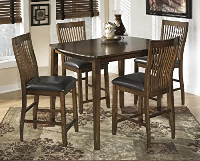 Stuman 5 Pc Medium Brown Finish Counter Height Dining Table With Barstools Set