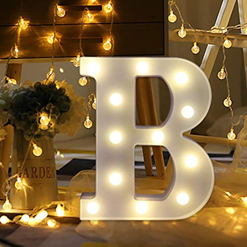 Remote Control Alphabet Letter Lights LED Light up Warm White Plastic Letters Standing Wedding Birthday Halloween Christmas Decoration (B)