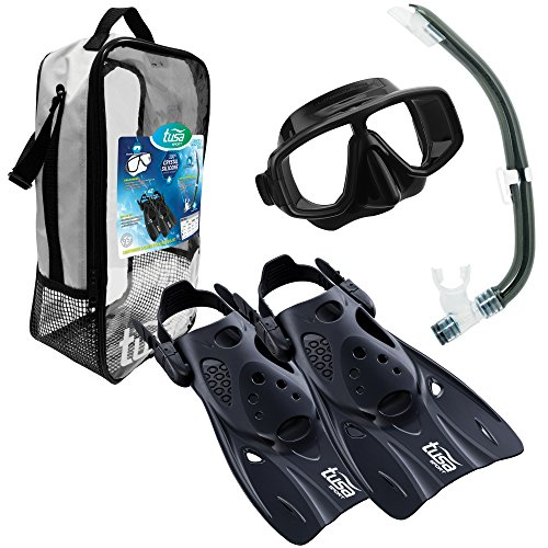 TUSA Sport Adult Platina Hyperdry Mask, Snorkel, & Fins Travel Set, Black, Medium