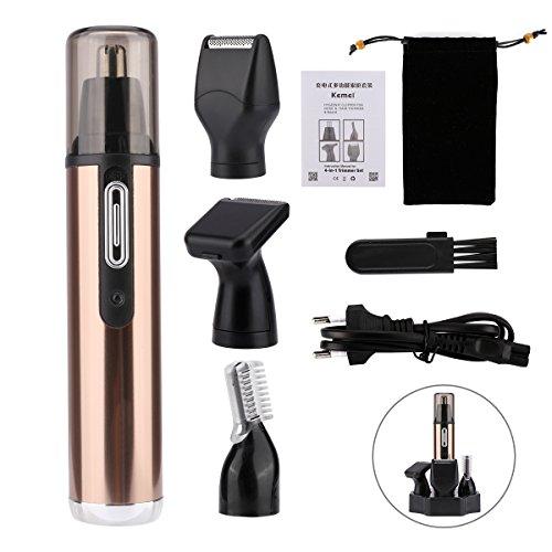 Tondeuse de précision résistant à l'eau, 4en 1épilateur sans poils Peigne nez, USB Rasoir électrique rechargeable pour cheveux femmes et hommes couleur or + noir