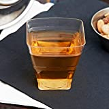 432 Count 2 oz. Plastic Clear Square Shot Glass w/ Signature Party Picks