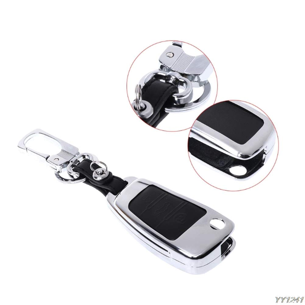 Leather Car Key Cover Case Keychain for Audi Sline A3 A5 Q3 Q5 A6 C5 C6 A4 B6 B7 B8 TT 80 S6 Happyit Zinc Alloy