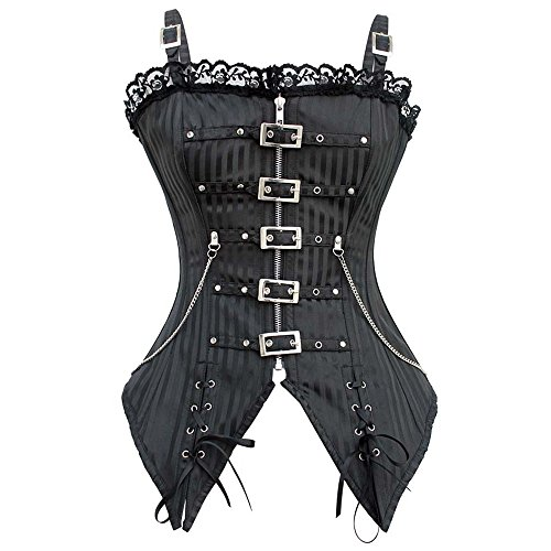 MISS MOLY Steampunk Overbust Boned Corset Straps Striped Zipper Front Top Black M