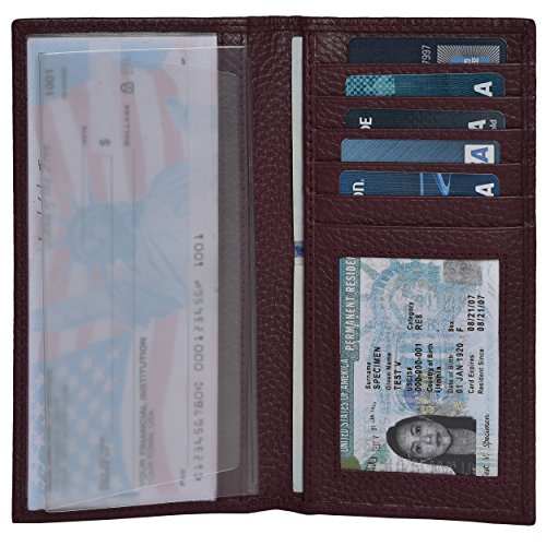 Leather Checkbook Cover Holder for Women - Standard Register Duplicate Checks RFID