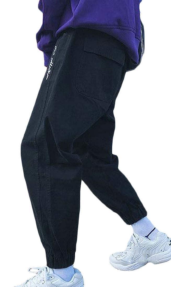 XiaoTianXinMen XTX Men Elastic Waist Letter Print Sport Harem Long Jogger Pants