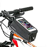 [Upgraded Version] ieGeek Roswheel Bike Frame Tube Bag, Water Resistant Bicycle Bag Front Top Tube Pannier Head Tube Bag Touchscreen Case Phone Storage Bag with Audio Extension Line for 5.7 Cellphone, iPod, MP3, GPS Holder (Single Bag - Up to 5.7) by Roswheel